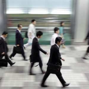 Morning commuters make their way to work in Tokyo, Japan, on Tuesday, May 29, 2012. Japan's jobless rate unexpectedly rose and retail sales fell for a second month, underscoring concern that an economic recovery will lose momentum in the face of gains in the yen and Europe's debt crisis. Photographer: Tomohiro Ohsumi/Bloomberg via Getty Images